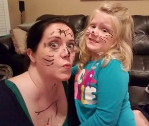 """My 4-year-old niece wanted to put """"cat"""" makeup on me. So we were cats for a day. I was clearly a cat with many stripes."""